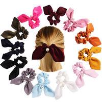 Women Vintage Silk Hair Scrunchies Pearl Rabbit Ear Hair Ties Holder Hair Access