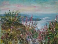 ORIGINAL SIGNED IMPRESSIONIST Robin Hood's Bay, HeatherOIL PAINTING CANVAS panel