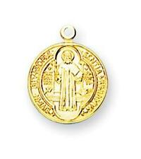 """MRT Gold Over Sterling Silver St Benedict 5/8"""" Round Engraved Medal on 18"""" Chain"""