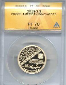 2018-S $1 American Innovators ANACS Authenticated PF 70 Dollar