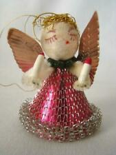 Vintage 1940s Chenille Spun Cotton Pink Angel, Mesh Dress, Christmas Ornament #6