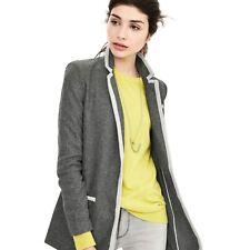 BANANA REPUBLIC Women's Piped Gray Hacking 2 Buttoned Knit Blazer Jacket - Sz 6