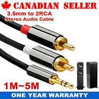 AUX 3.5mm to 2 RCA AV Audio Video Male Converter Cable DVD TV Cord Adapter Wire