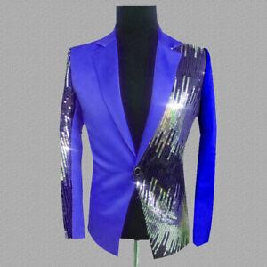 Hommes Blazers Costume Veste Brillant Sequin Paillette Club de Fête Scène