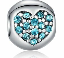 December Birthstone Rhinestone Heart European Bead fits Bracelet & Chain NEW!