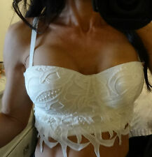 Graffith Basque, crop top cream lace overlay size medium 8-10 up to 34d bust-new