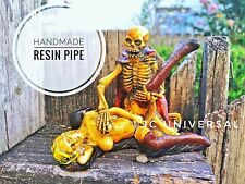 Sexy Girl and Skull Handmade Tobacco Smoking Resin Pipe, +5PCs Brass Screen 420