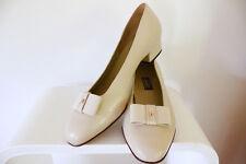 Bally shoes cream leather flats slip on court shoe NEW bow sz 7.5 9 10 designer