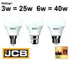 JCB 3W 6W LED BALLE DE GOLF LAMPE BC B22 ES E27 SES E14 AMPOULE BLANC CHAUD