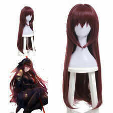 Fate Grand Order FGO Scathach Long Straight Dark Red Wigs Cosplay Wigs