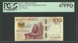 Mexico 100 Pesos 25-1-2016 P130 Commemorative Issue Uncirculated Graded 67