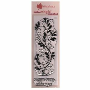 Woodware 3 x 8 Clear Cling Stamps - JGS552 Bubble Bloom Border