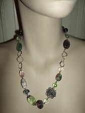 COLLANA GIROCOLLO HALSKETTE NECKLACE GEMSTONE FLUORITE 925 ARGENTO SILVER NEPAL