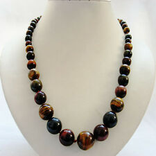 """22"""" 6-16mm round Graduated smooth yellow blue red mixed color tiger'eye necklace"""