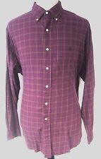 Ralph Lauren Men's Dress Shirt Burgundy Plaid Button Down Blake Size XL