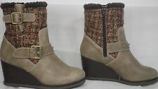 CAT Footwear 'Persuade' Grey Leather/Wool Textile Wedge Bootie Women Size 7 M