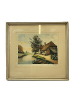 Antique Aquatint Colored Etching Pencil Signed Framed Cottage by River