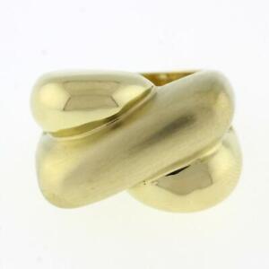 Estate Crossover Statement Ring 14K Brushed Polished Gold Size 6.5