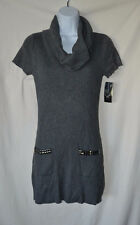 INC Womens Large Gray Short Sleeve Sweater Dress NEW Cowl Neck $69.50 MSRP