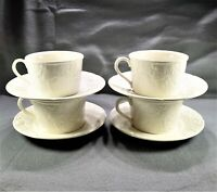 (4) Mikasa English Countryside White Flat Cup and Saucer Sets