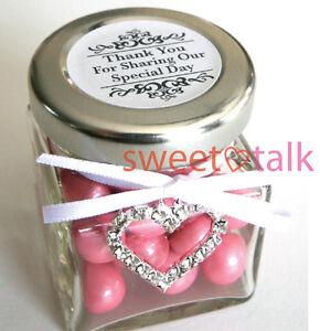WEDDING FAVOUR, BOMBONIERE, WEDDING CHOCOLATES CANDY JAR WITH JEWEL HEART CHARM
