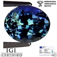 2.56 Ct IGI Certified AA Natural D Block Tanzanite Violetish Green Oval Cut