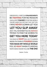 Kodaline - The One - Song Lyric Art Poster - A4 Size