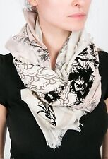 Leigh & Luca Nougat ombre scarf bird toile Silk Square black flock w/clay