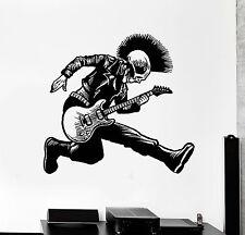 Vinyl Wall Decal Skeleton Punk Rock Musician Music Stickers Mural (ig4239)