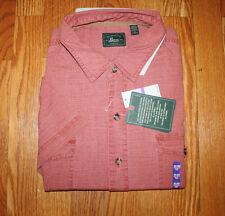 NWT Mens G. H. BASS & CO. Tandori Spice Red Cotton Short Sleeve Shirt Sz XL