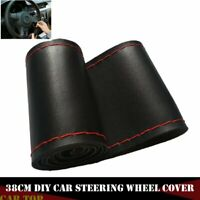 38cm Black+Red Leather DIY Car Auto Steering Wheel Cover With Needles and Thread