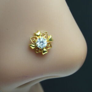 Indian Nose ring White CZ studded gold plated corkscrew piercing nose stud