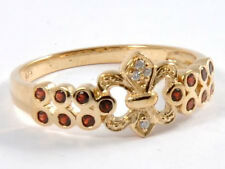 R132 Genuine 9K Yellow Gold NATURAL Garnet & Diamond Fleur-De-lise Ring size N