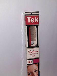 New! NOS Vintage 1970's Tek Hard Deluxe Toothbrush RED Mondrian Box SEALED Mod
