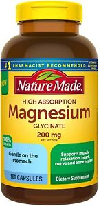 Nature Made High Absorption Magnesium Glycinate 200 mg Capsules for Muscle...