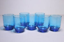 7 Capri Azure Ocean Blue Stackable Iced Tea Tumblers 14 Oz Glassware Set