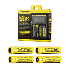 NiteCore D4 Charger 2014 - Includes 4x Nitecore 3400mAh Batteries