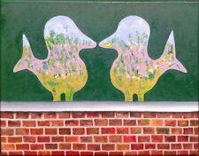 Pequeño original pintura al óleo sobre lienzo 2 aves en jardín sin enmarcar Listo Para Colgar