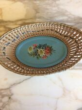 Vintage Small Tin Bottomed Basket Decor Floral Made in Germany