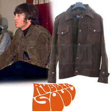 Beatles John Lennon Rubber Soul Inspired Brown Suede Leather Jacket by Suzahdi