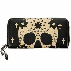 Banned Skeleton Anatomical Skull & Crosses Gothic Spooky Black Wallet
