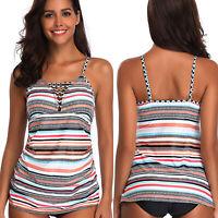 Plus Size Women's Striped Swimwear Padded Tankini Blouson Top Swimsuit Beachwear