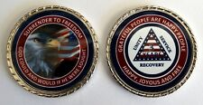 """Alcoholics Anonymous 3 Year Patriotic Rope Edge Sobriety Coin Chip 1 3/4"""""""