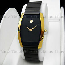 Men's Movado TONNEAU LA NOUVELLE PVD Black Dial Gold Vintage Swiss Watch