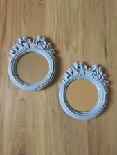 Set 2 Architectural Salvage Bow Round Mirrors Chalk Paint Shabby Chic Gray Vtg