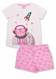 Girls Pyjamas Short Sleeve Nightwear Short Pjs Childrens Rocket Design 2-7 Years