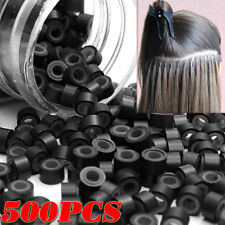500 Black Silicone Micro Rings Links for I Bonded Tip Human Hair Extension US2