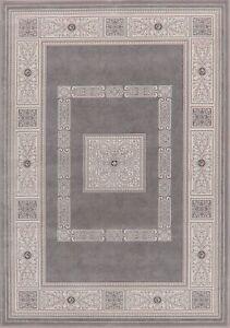 Geometric Tuscan Gray & Ivory Oriental Area Rug Modern Turkish Carpet 5x8