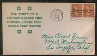 1944 Long Beach Ca USA Patriotic Cover Point Of A Victory Garden This Summer