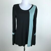 Helloacc Blouse Size L Black Green Long Sleeve Soft Stretch Colorblock Womens